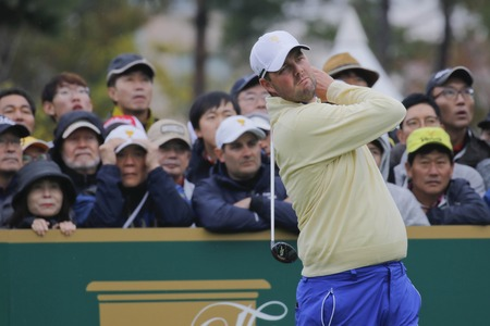 pga: International Team Player Marc Leishman action on the 4th tee during the PGA Tour President Cup Single Match at Jack Nicklaus GC in Incheon, South Korea.