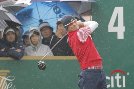 pga: United States Team Player Zach Johnson action on the 4th tee during the PGA Tour President Cup Single Match at Jack Nicklaus GC in Incheon, South Korea.