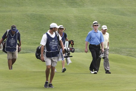 pga: Tom Kite of USA (R) and Scott Hoch of USA, move after 8th hall tees during the PGA Tour Songdo IBD championship second round at Jack Nicklaus golf club in Incheon, west of Seoul, on Sep 17, 2011, South Korea.