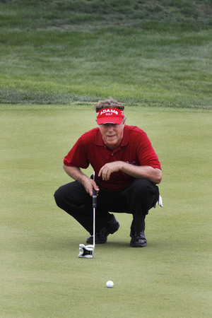 pga: Michael Allen of USA, check his putting line during the PGA Tour Songdo IBD championship second round at Jack Nicklaus golf club in Incheon, west of Seoul, on Sep 17, 2011, South Korea. Editorial