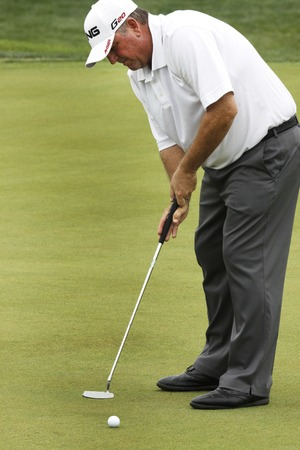 pga: Mark Calcavecchia of USA 8th hall putt during the PGA Tour Songdo IBD championship second round at Jack Nicklaus golf club in Incheon, west of Seoul, on Sep 17, 2011, South Korea.