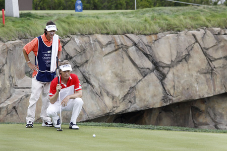 Bernhand Langer of Germany, check his putting line of 18th hall during the PGA Tour Songdo IBD championship second round at Jack Nicklaus golf club in Incheon, west of Seoul, on Sep 17, 2011, South Korea.