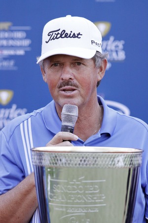 pga: Jay Don Blake of USA, speaking about tournament win during the PGA Tour Songdo IBD championship winning event at Jack Nicklaus golf club in Incheon on Sep 18, 2011. Jay Don Blake survived a four-player, five-hole playoff Sunday and won the Champions Tour