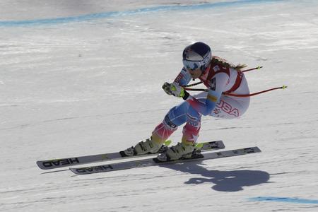 VONN Lindsey van de actie van de VS tijdens een AUDI FIS-Wereldkampioenschap 201617 Jeongseon in Pyeong Chang, Zuid-Korea. Redactioneel