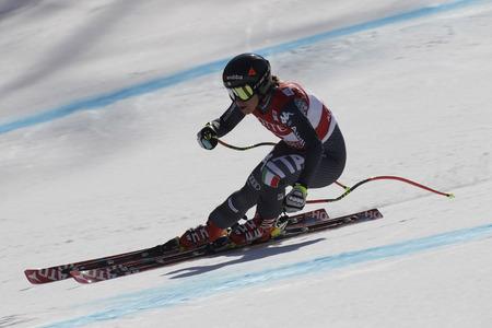 GOGGIA Sofia van de actie van Italië tijdens een AUDI FIS-Wereldkampioenschap 201617 Jeongseon van de SKIwereld in Pyeong Chang, Zuid-Korea.