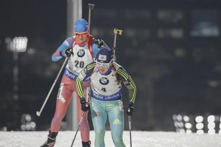 DZHIMA Yuliia of Ukraine action during the IBU World Cup Biathlon Women 7.5KM Sprint race at Alpensia Biathlon Center in Pyeong Chang, South Korea. Editorial