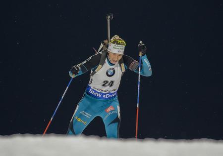 BESCOND Anais of France actie tijdens de IBU Wereldbeker Biathlon Dames 7,5 KM sprintrace op Alpensia Biathlon Center in Pyeong Chang, Zuid-Korea.