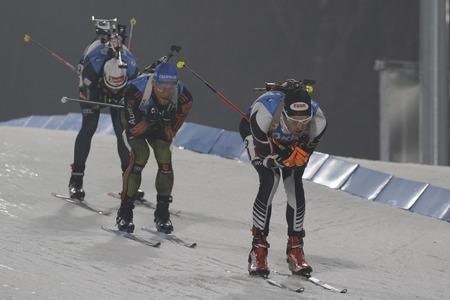LANDERTINGER Dominik van Oostenrijk actie tijdens een IBU Biathlon Wereldbeker Heren Achtervolging 12.5Km op ALPENSIA BIATHLON CENTRE in Pyeong Chang, Zuid-Korea.