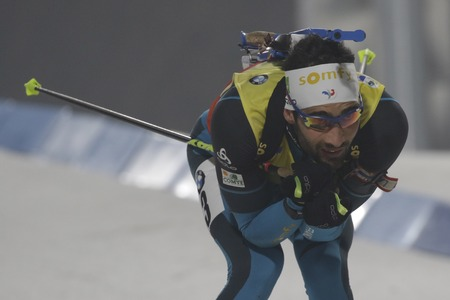 FOURCADE Martin of France action during an IBU Biathlon World Cup Men Pursuit 12.5Km at ALPENSIA BIATHLON CENTER in Pyeong Chang, South Korea. Editorial
