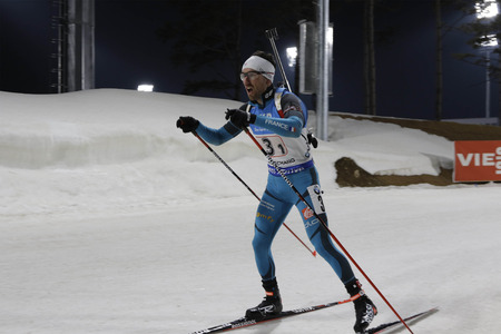 BEATRIX Jean Guillaume of France action during an IBU Biathlon World Cup Men Relay 4X7.5Km at Alpensia Biathlon Center in Pyeong Chang, South Korea. Match First is France, Second is Austria and Third is Norway