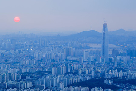 Daylight scene of Lotte World Tower, view from Namhan Sanseong castle. Lotte World Tower is a 123-floor, 554.5-metre (1,819 ft) supertall skyscraper that finished external construction on March 17, 2016. The buildings final 123rd floor was topped out on  Editorial