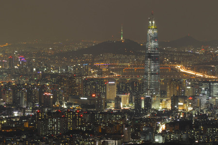 Night scene of Lotte World Tower, view from Namhan Sanseong castle. Lotte World Tower is a 123-floor, 554.5-metre (1,819 ft) supertall skyscraper that finished external construction on March 17, 2016. The buildings final 123rd floor was topped out on Dec Editorial