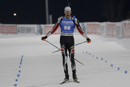 olympic sports: EBERHARD Julian of Austria action during an IBU Biathlon World Cup Men 10Km Sprint at ALPENSIA BIATHLON CENTER in Pyeong Chang, South Korea.