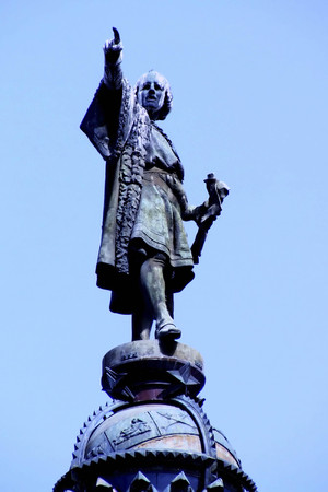 Christopher Columbus column and statue, Barcelona, ??Spain Stock Photo