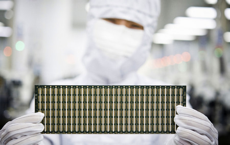 MICROCHIP WAFER INSPECTION Фото со стока