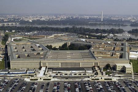 アメリカ合衆国、バージニア州アーリントンには、米国防総省の東の入り口の航空写真