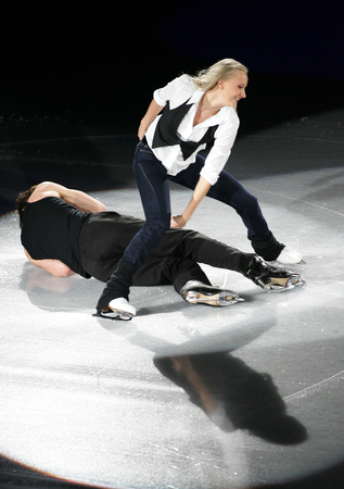 Russias Oksana Domnina (up) and Maxim Shabalin perform at the Gala exhibition of the ISU Grand Prix of Skating Final Exhibition 20082009 in Goyang near Seoul on December 14, 2008.