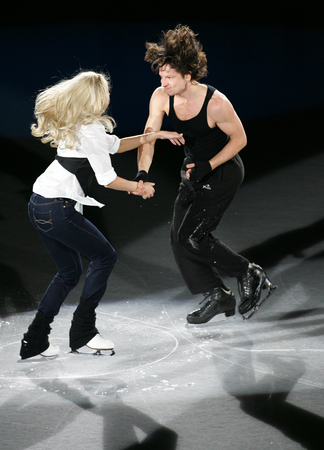 Russias Oksana Domnina (L) and Maxim Shabalin perform at the Gala exhibition of the ISU Grand Prix of Skating Final Exhibition 20082009 in Goyang near Seoul on December 14, 2008. Editorial