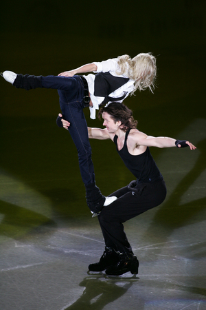 Russias Oksana Domnina and Maxim Shabalin perform on the ice during the ISA Grand Prix of Skating Final Exhibition 20082009 in Goyang near Seoul on December 14, 2008. Editorial