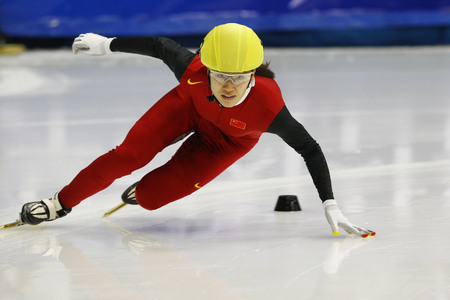 Liu Qiuhong, front, of China competes in the ladies 500-meters heats of the ISU World Cup Short Track speed Skating Championship 2009 2010 on September 24, 2009, South Korea. Editorial