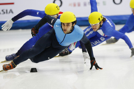 heats: Lobello Anthony, front, of USA competes in the Men 500-meters heats of the ISU World Cup Short Track speed Skating Championship 2009 2010 on September 24, 2009, South Korea. Editorial