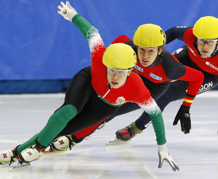 Rudolph Susanne, second, of Germany competes in the ladies 500-meters Pre-Preliminaries of the ISU World Cup Short Track speed Skating Championship 2009 2010 on September 24, 2009, South Korea.
