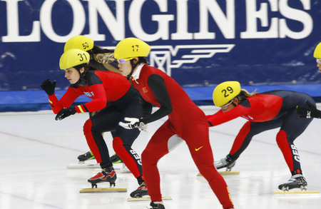 Walter Bianca, left, and Priebst Christine, right, of the ladies 3000-meter relay quarterfinals of the 2009 ISU World Cup Short Track Speed ??Skating Championships on September 25, 2009 in Seoul, South Korea. Editorial