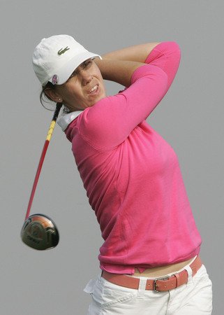 Karine Icher of France hits a teeshot in the 6th hole during round one of Hana Bank Kolon Championship at Sky 72 Golf Club on October 30, 2009 in Incheon, South Korea. Editorial