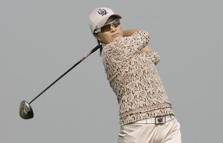 Se Ri Pak of South Korea hits a teeshot in the 6th hole during round one of Hana Bank Kolon Championship at Sky 72 Golf Club on October 30, 2009 in Incheon, South Korea. Editorial
