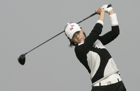 Na Yeon Choi of South Korea hits a teeshot in the 6th hole during round one of Hana Bank Kolon Championship at Sky 72 Golf Club on October 30, 2009 in Incheon, South Korea. Editorial