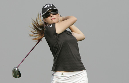 Paula Creamer of Pleasanton CA hits a teeshot in the 6th hole during round one of Hana Bank Kolon Championship at Sky 72 Golf Club on October 30, 2009 in Incheon, South Korea. Editorial