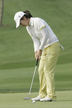 Candie Kung of Taiwan in the 9th hole during round one of Hana Bank Kolon Championship at Sky 72 Golf Club on October 30, 2009 in Incheon, South Korea. Editorial