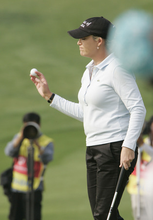 Cristie Kerr of Miami FL in the 9th hole during one round of Hana Bank Colon Championship at Sky 72 Golf Club on October 30, 2009 in Incheon, South Korea. Editorial