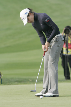 Lorena Ochoa of Mexico in the 9th hole during one round of Hana Bank Kolon Championship at Sky 72 Golf Club on October 30, 2009 in Incheon, South Korea.