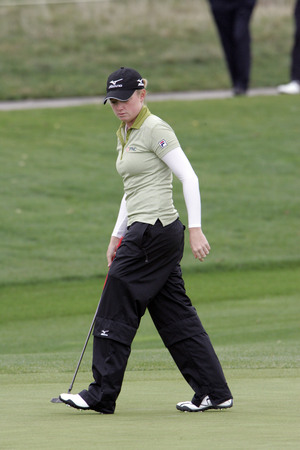 Stacy Lewis of The Woodlands TX on the 2th hole during final round of Hana Bank Kolon Championship at Sky 72 Golf Club on November 1, 2009 in Incheon, South Korea.