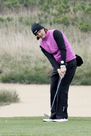 Maria Hjorth of Sweden putts on the second hole during the final round of Hana Bank Kolon Championship at Sky 72 Golf Club on November 1, 2009 in Incheon, South Korea.