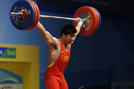 Lu Yong of China competes in the mens 85kg Group A weightlifting snatch competition at the World Weightlifting Championship in Goyang, north of Seoul on Thursdays, November 26, 2009, South Korea.