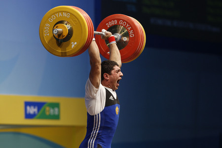 Poghosyan Gevorik of Armenia competes in the mens 85kg Group A weightlifting snatch at the World Weightlifting Championship in Goyang, north of Seoul on Thursdays, November 26, 2009, South Korea. Editorial