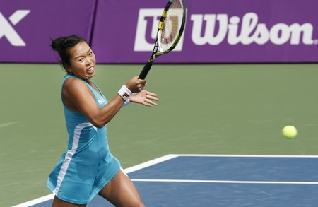 ganado: Vania King of USA, return to Kimiko Date-Krumm of Japan (no picture), on a single play day in the Hansol Korea Open Tennis at the Olympic Park in Seoul on Sep 20, 2011, South Korea. Vania King won in straight sets 6-2, 6-2.