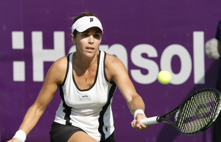 Maris Jose Martinez Sanches of Spain returns to Kristyna Pliskova of Czech Republic (no picture) on Day 3 in the Hansol Korea Open Tennis second round at the Olymoic park tennis cout in seatern Seoul on Sep 22, 2011, South Korea. Maris Jose Martinez Sanch