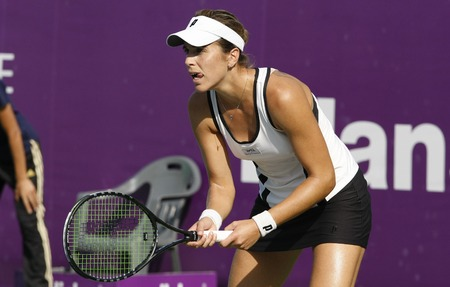 Maris Jose Martinez Sanches of Spain plays to Kristyna Pliskova of Czech Republic (no picture) on Day 3 in the Hansol Korea Open Tennis second round at the Olymoic park tennis cout in seatern Seoul on Sep 22, 2011, South Korea. Maris Jose Martinez Sanches