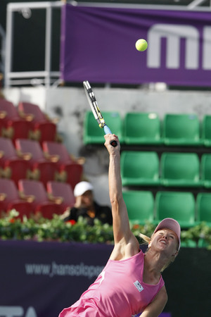 26: Vera Dushevina of Russia, serving to Francesca Schiavone of Italia (no picture), on a single play day in the Hansol Korea Open Tennis at the Olympic park tennis court in eastern Seoul on Sep 20, 2011, South Korea. Vera Dushevina won in straight 4-7, 2-6.