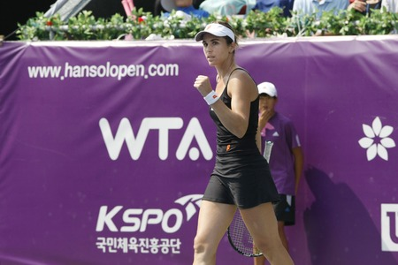 jose: Maria Jose Martinez Sanches of Spain plays to Galina Voskoboeva of Kazakhstan on Day 7 in the Hansol Korea Open Tennis final round at the Olympic Park tennis cout in eastern Seoul on Sep 25, 2011, South Korea. Martinez Sanchez beat Kazakhstans Galina Vos Editorial