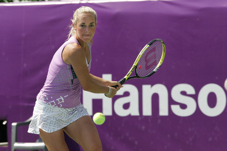 Klara ZAkopalova of Chechen returns to Maria Jose Martinez Sanches of Spain  (no picture) on Day 6 in the Hansol Korea Open Tennis semifinal at the Olympic tennis court in eastern Seoul on Sep 20, 2011, South Korea. Maria Jose Martinez Sanches won in stra