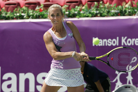 Klara ZAkopalova of Chechen plays to Maria Jose Martinez Sanches of Spain  (no picture) on Day 6 in the Hansol Korea Open Tennis semifinal at the Olympic tennis court in eastern Seoul on Sep 20, 2011, South Korea. Maria Jose Martinez Sanches won in straig Editorial