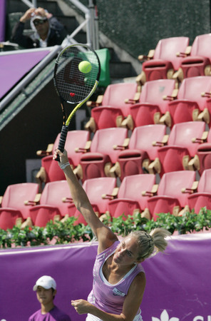 Klara ZAkopalova of Chechen serve to Maria Jose Martinez Sanches of Spain  (no picture) on Day 6 in the Hansol Korea Open Tennis semifinal at the Olympic tennis court in eastern Seoul on Sep 20, 2011, South Korea. Maria Jose Martinez Sanches won in straig