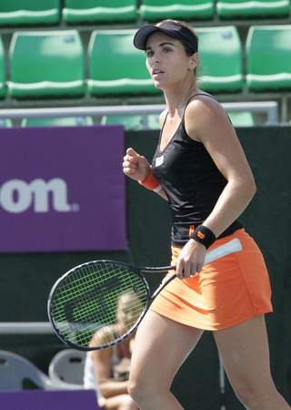 Maria Jose Martinez Sanches of Spain plays to Klara Zakopalova of Chechen (no picture) on Day 6 in the Hansol Korea Open Tennis semifinal at the Olympic tennis court in eastern Seoul on Sep 20, 2011, South Korea. Maria Jose Martinez Sanches won in straigh Editorial