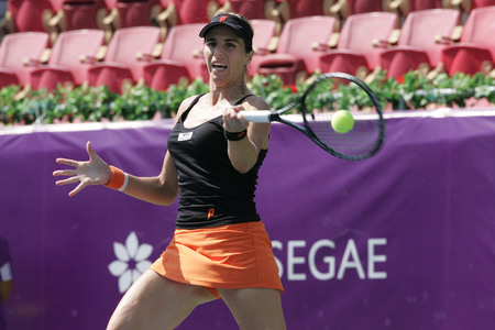 Maria Jose Martinez Sanches of Spain returns to Klara Zakopalova of Chechen (no picture) on Day 6 in the Hansol Korea Open Tennis semifinal at the Olympic tennis court in eastern Seoul on Sep 20, 2011, South Korea. Maria Jose Martinez Sanches won in strai