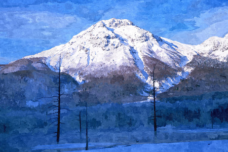 Oil paint drawing image of snow mountain.
