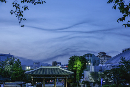 Median processing image of dynamic cloud in Seoul. Stock Photo